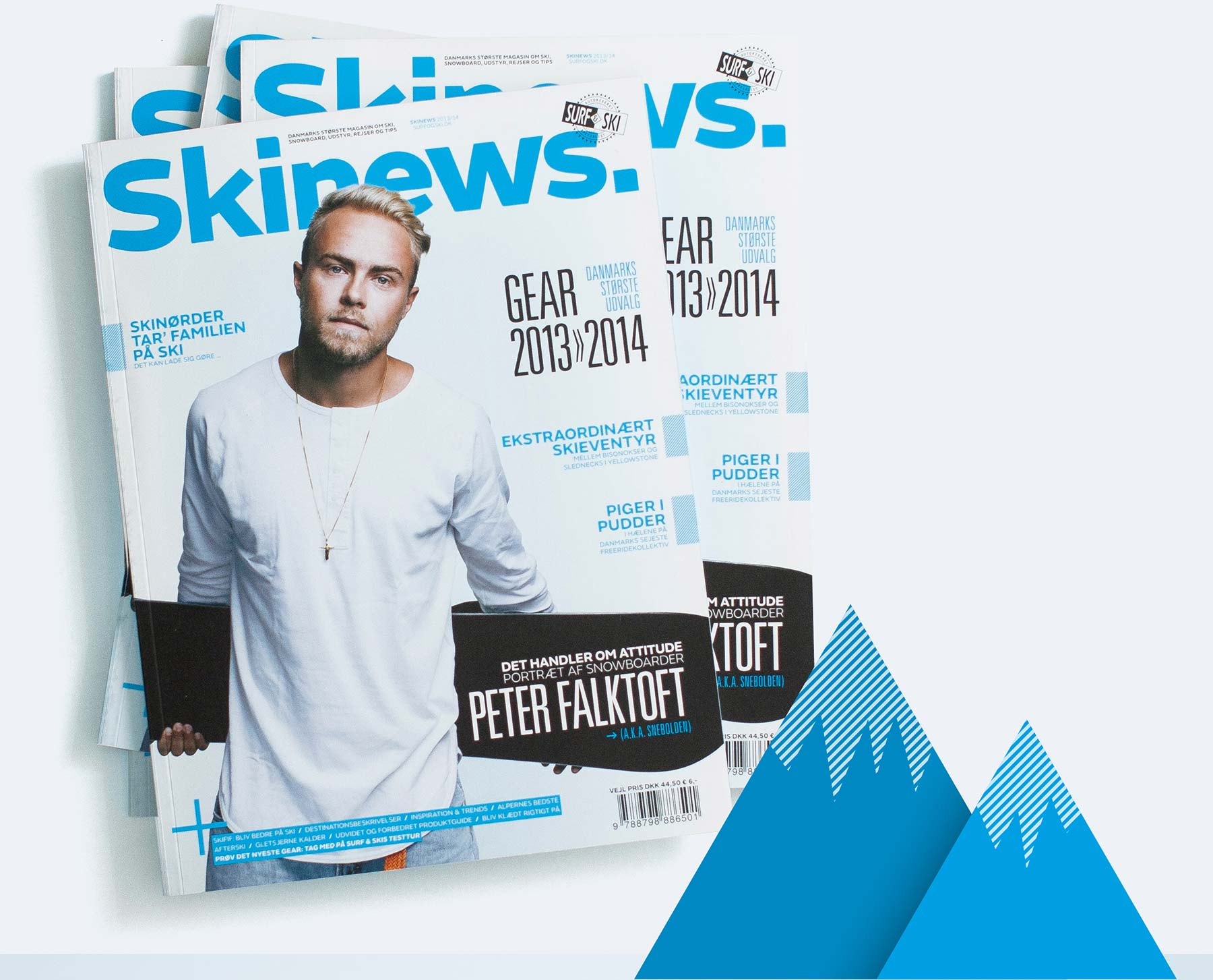 Nyt design til magasinet Ski News for Surf og Ski, med artikel om Peter Falktorft